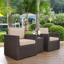 Sand and Brown 3 Piece Wicker Patio Furniture Set Palm Harbor