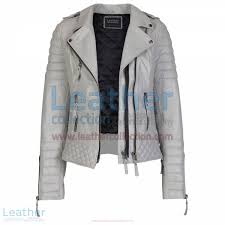biker womens grey quilted leather jacket front open view