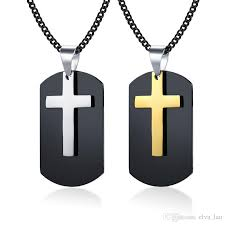 whole black dog tag cross pendant necklace for men stainless steel double pendant punk customize male jewelry handmade jewelry charm necklace from