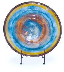 blown glass plates hand blown glass wild flower charger with stand contemporary decorative plates by mark blown glass plates
