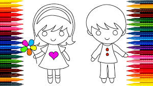 boy simple drawing and coloring for kids