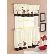 kitchen curtains. better homes and garden coffee window kitchen curtains set of 2 l