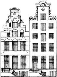 Kleurplaat Gevel Huisjes Laser Cutting Amsterdam Style Houses