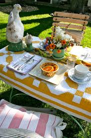 Quilts as Tablecloths - The Bright Ideas Blog & Quilts as Tablecloths — yellow and white antique quilt tablecloth Adamdwight.com