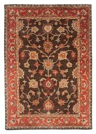traditional royal wool hand tufted area rug 5x8 brown red gold grey antique