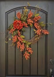 Fall Wreath Autumn Thanksgiving Orange Berry Twig Grapevine Door Wreath  Decor