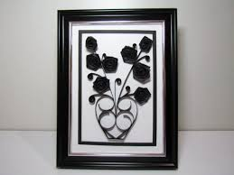 Paper Quilling Flower Frames 3d Gothic Quilled Flower Paper Handmade Black Rose Gentle Etsy
