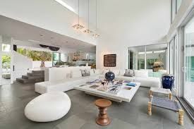 living room of modern mansion in miami amazing lighting