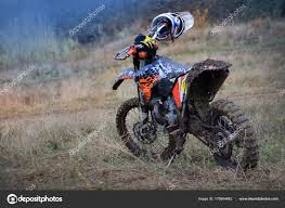 motorcycle for motocross is on the track after the race motocross wallpaper stock