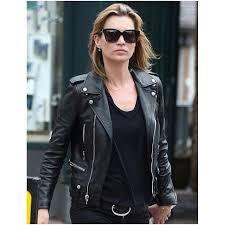 stylish kate moss black leather biker jacket