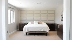 Bedroom With Padded Acoustical Wall Finishing Headboard ...