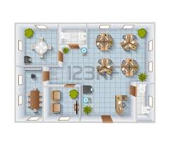 designer office desk isolated objects top view. office furniture top view interior blueprint template with conference room and restroom designer desk isolated objects j