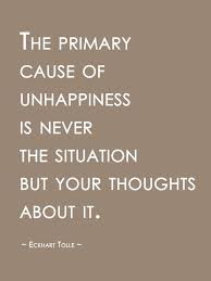 unhappiness thinking quote eckhart tolle