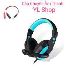 Tai nghe game thủ chụp tai có mic 770 kèm cáp chuyển âm thanh ra điện thoại  dùng tốt cho cả điện thoại và pc