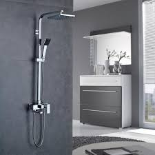 Auralum Duscharmatur Mit Wasserhahn Regendusche Mit Verstellbar Duschstange 90 130cm Duschsystem Inkl Duschkopf Handbrause
