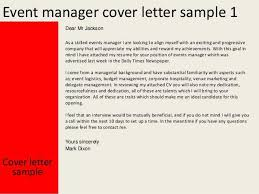 Event Manager Cover Letter And Sample Resume In Hospitality