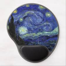 the starry night wrist support gel mousepad