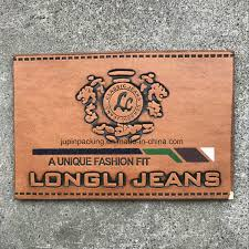 china custom embossed leather label jeans pu leather patch tag brown garment labels wc ll010 china pu leather label leather label
