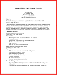 General Office Clerk Resume Example For Objective With Summary Of