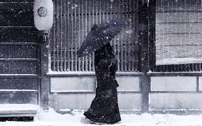 Japan Winter Snow Umbrellas Nature Seasons Hd Desktop
