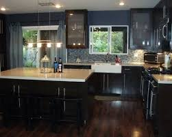 dark brown kitchen cabinets with wood floors white shaker full size