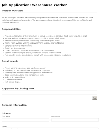 job application warehouse worker template job application warehouse worker