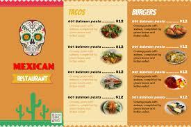 A La Carte Menu Template Mexican Food Menu Templates With Photo Placeholders