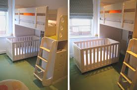 A Crib under a bunk bed