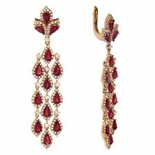 6 20ct ruby 14k rose gold and diamond chandelier earrings