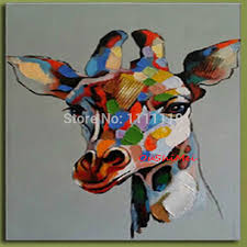 handmade colours giraffe animals oil painting for living room wall pictures funny abstract paintings with frame