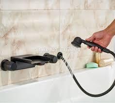 wall mount bathtub faucet with sprayer. oil rubbed bronze led light bathroom bathtub faucet with pull out side-sprayer wall mounted mount sprayer m