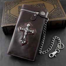 details about men boy skull gothic cross zipper checkboot long leather biker wallet with chain