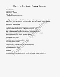 Playstation Game Tester Cover Letter Sales Representative Resume