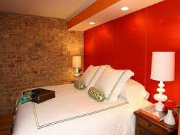 Orange Color For Bedroom Bedroom Decorating Combination Colour Orange And Brick Wall