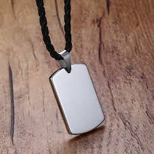 rectangular dog tag pendant necklace