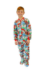 Big Feet Pjs Size Chart Boys Girls Winter Fun Christmas Fleece Kids Onesie Footie Pajamas