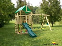 this wooden playset looks to be something that most kids would adore it has swings and a slide which are almost always great fun