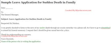Leave Application Format For Office Fascinating Leave Application For Death In Family Leave Letter For Death In