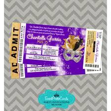 Black And Purple Invitations Gold Purple Black Sweet 16 Invitations Ticket Masquerade