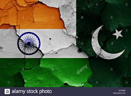 Small Picture flags of India and Pakistan painted on cracked wall Stock Photo