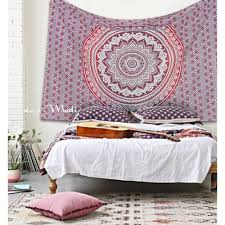 indian mandala red ombre wall tapestry twin small size bedding hippie room decor