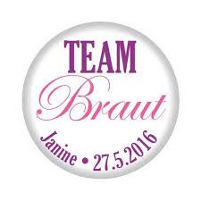 Jga Button Team Braut Weisser Metallbutton Mit Namen Und Datum