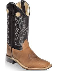 Light Brown Square Boots Old West Boys Boys Light Calf Leather Boot Square Toe Bsy1814gy