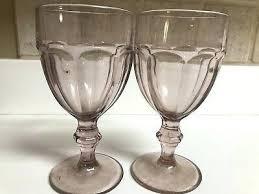 libbey cobalt blue water goblets light purple pink glasses