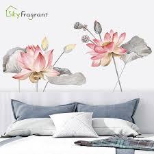 chinese style large wall sticker lotus