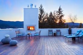 rooftop furniture. Roof Deck Ideas For Elegant Home Designs: Rooftop With Outdoor Fireplace And Entertaining Furniture