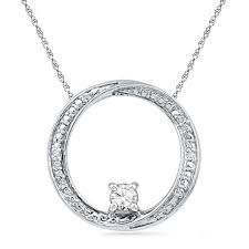 4 0mm lab created white sapphire and diamond accent swirl circle pendant in sterling silver