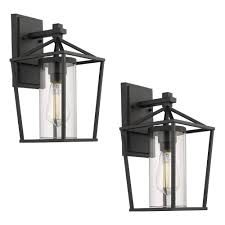 Wall Mounted Light Fixture Emliviar Outdoor Porch Lights 2 Pack Wall Mount Light Fixtures Black Finish With Clear Glass 20065b1 2pk