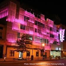 helix garage lit pink for october