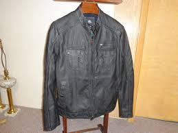 rock republic mens black faux leather moto zip up jacket coat size l